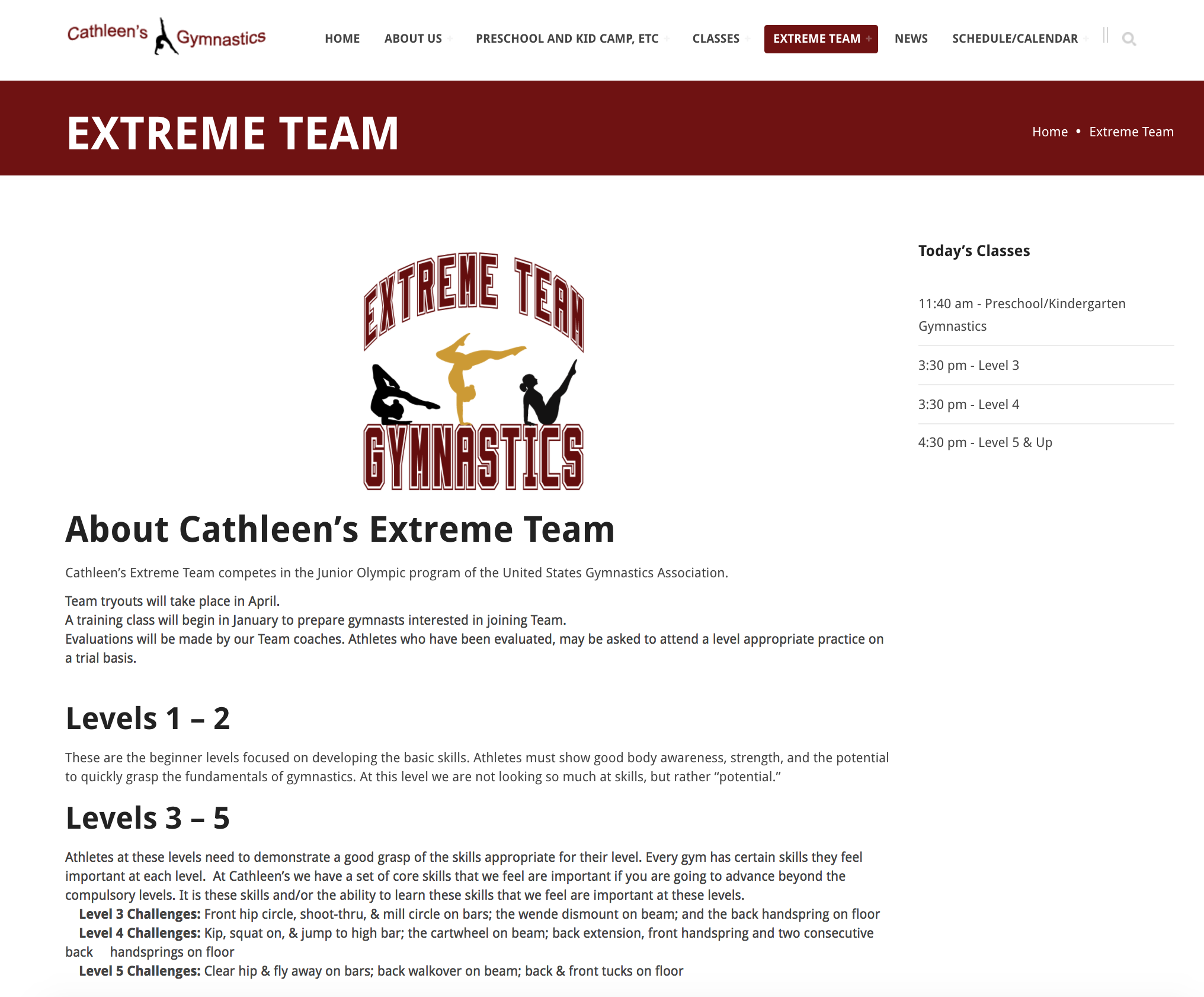 Cathleen's Gymnastics Website